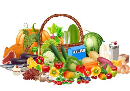 Ilustración de vector de alimentos saludables de dibujos animados contiene frutas y verduras, proteínas, carbohidratos y leche