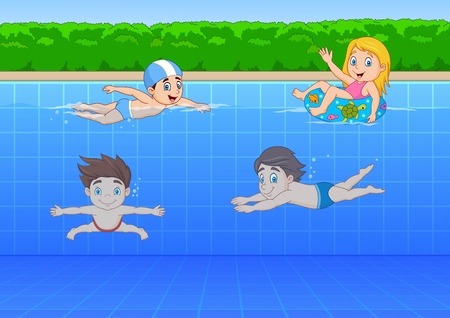 Vector illustration of Cartoon kids swimming in the pool