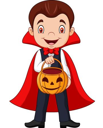 Vector illustration of Cartoon vampire holding pumpkin basket