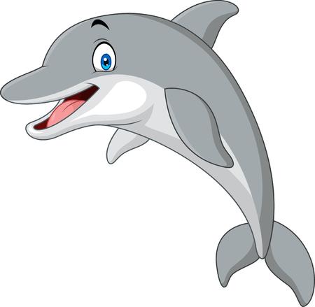 Ilustración de vector de delfín divertido de dibujos animados