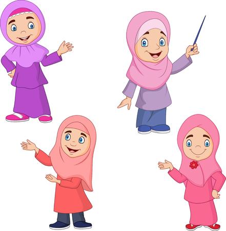 Ilustración de vector de conjunto de colección de niña musulmana de dibujos animados