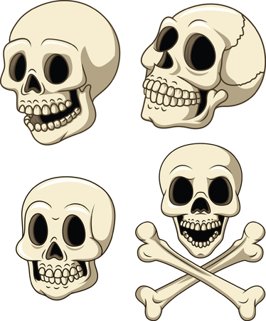 Vector illustration of Human skull collection set isolated on white background