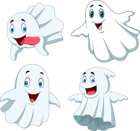 Vector illustration of Cartoon funny ghost collection set Vectores