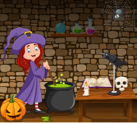 Vector illustration of Halloween background with little witch stirring magic potion Stock Illustratie