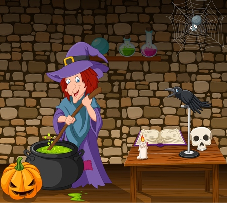 Vector illustration of Halloween background with witch stirring magic potion Illustration