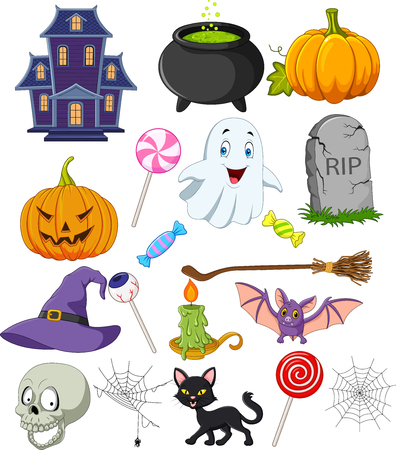 Vector illustration of Cartoon halloween symbols collection set