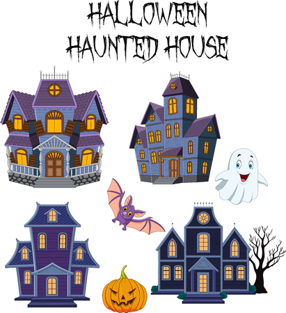 Vector illustration of Halloween Haunted house collection set Ilustração