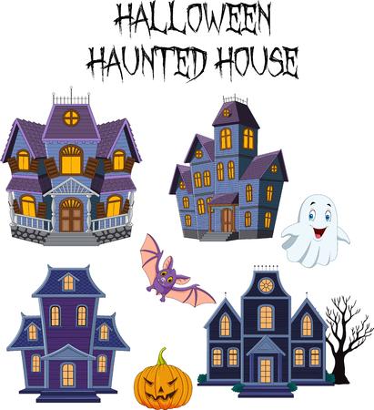 Vectorillustratie van Halloween Haunted house collectie set Vector Illustratie