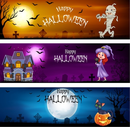 Vector illustration of Three sets of halloween banners