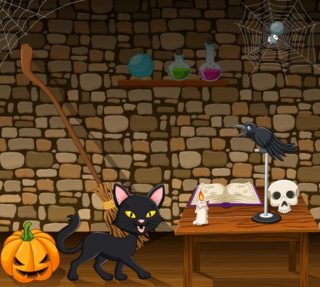 Vector illustration of Cartoon black cat in the witch house