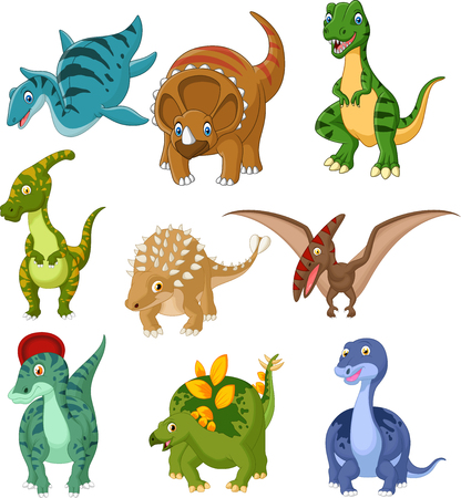 Vector illustration of Cartoon dinosaurs collection set