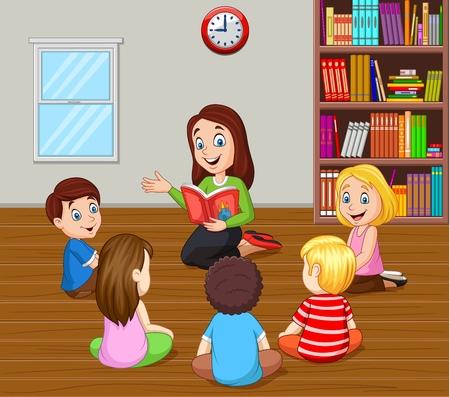 Ilustración de vector de maestro contando una historia a los niños en el aula