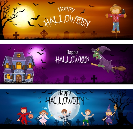 Vector illustration of Three set of Halloween Banners