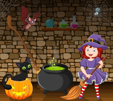 Vector illustration of Cartoon little witch holding a broomstick in the room Illustration