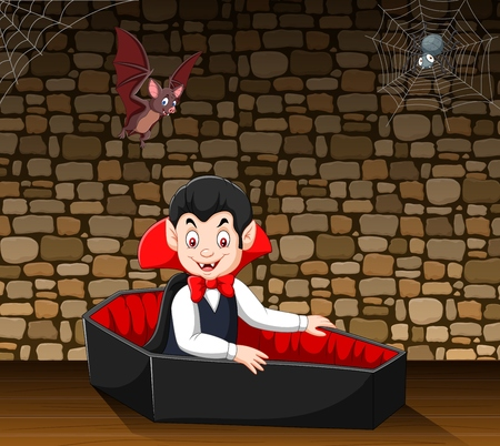Vector illustration of Cartoon happy vampire in his coffin Illustration