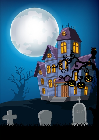 Vector illustration of Cartoon haunted house with halloween background Illustration