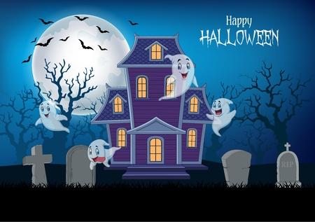 Vectorillustratie van spookhuis en spook met halloween-achtergrond