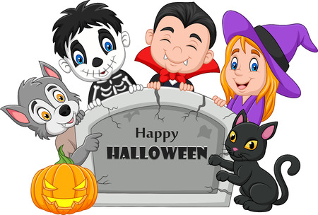 Vector illustration of Cartoon kids with Halloween costume holding tombstone