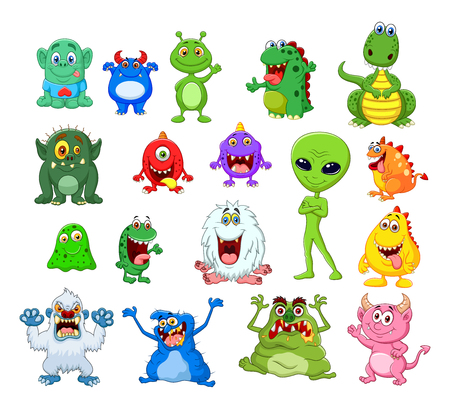 Vector illustration of Cartoon monster collection set
