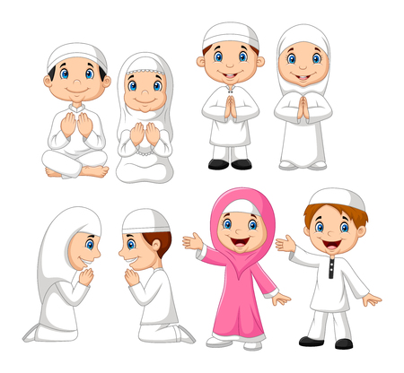 Vector illustration of Cartoon Muslim kid collection set