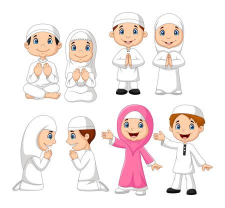 Vector illustration of Cartoon Muslim kid collection set Vetores