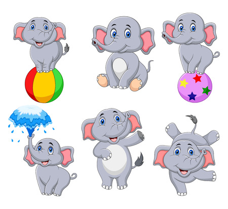 Vector illustration of Cartoon elephants collection with different actions