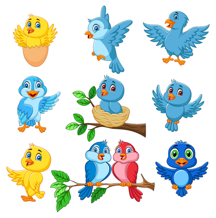 Vector illustration of Cartoon happy birds collection set