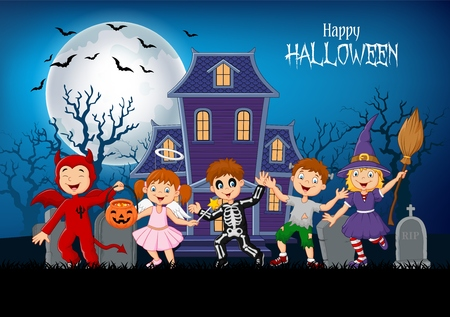 Vector illustration of Cartoon happy kids with Halloween background 矢量图像