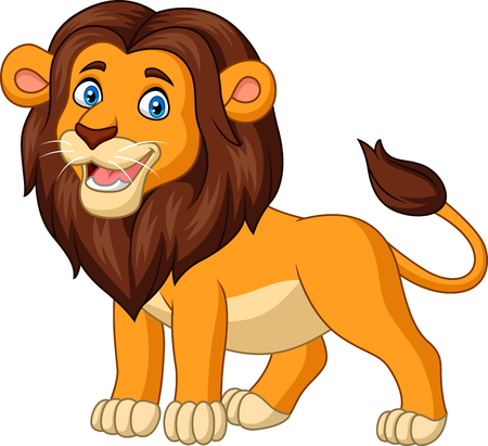 Vector illustration of Cartoon happy lion isolated on white background