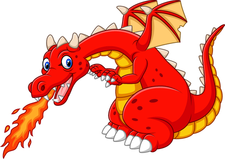 Vector illustration of Cartoon dragon posing with fire