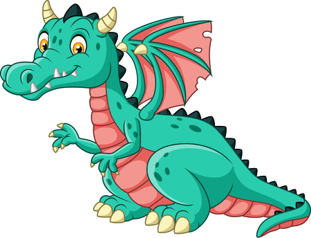 Vector illustration of Cartoon dragon isolated on white background