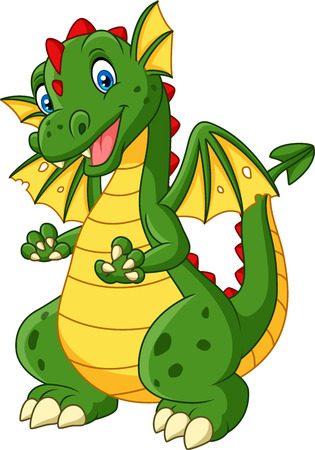 Vector illustration of Cartoon dragon posing isolated on white background