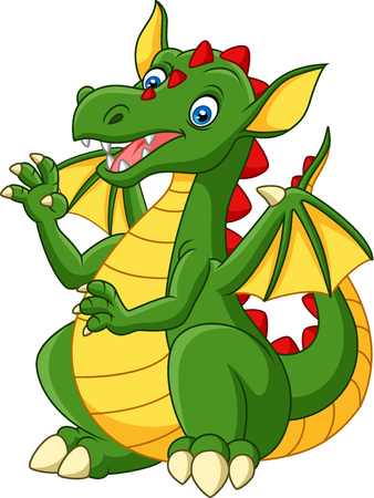 Vector illustration of Cartoon happy dragon isolated on white background