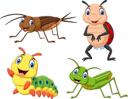 Illustration vectorielle de jeu de collection d'insectes de dessin animé