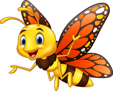 Vector illustration of Cartoon happy butterfly isolated on white background