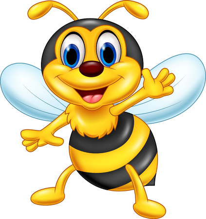 Vector illustration of Cartoon happy bee waving Illustration