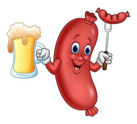 Vector illustration of Cartoon sausage holding beer and sausage on fork