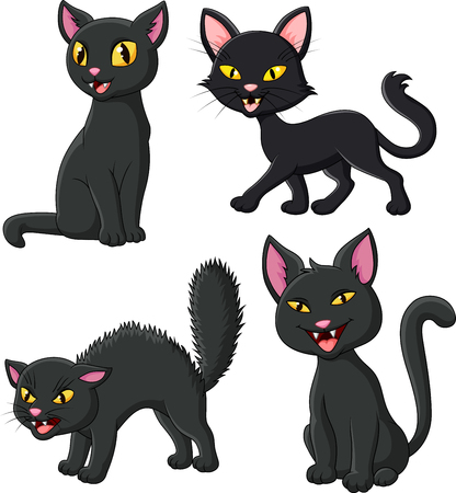 Vector illustration of Cartoon black cat collection set Illustration