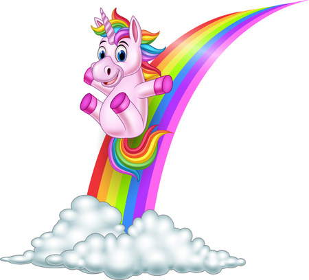 Vector illustration of Cartoon unicorn sliding on a rainbow
