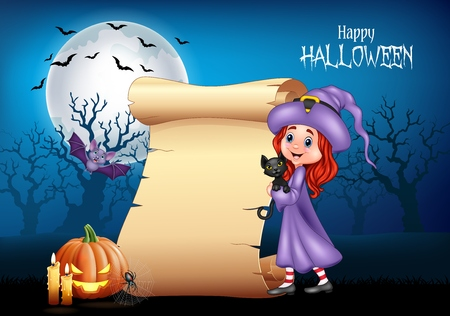 Vector illustration of Cartoon little witch hugging black cat with Halloween background