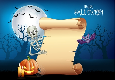 Vector illustration of Cartoon skeleton holding scroll banner with Halloween background