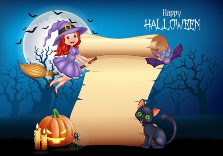 Vector illustration of Cartoon little witch flying on a broomstick with halloween background