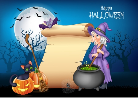 Vector illustration of Cartoon witch stirring magic potion with halloween background Illustration