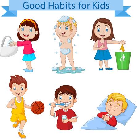 Ilustración de vector de colección de buenos hábitos para niños