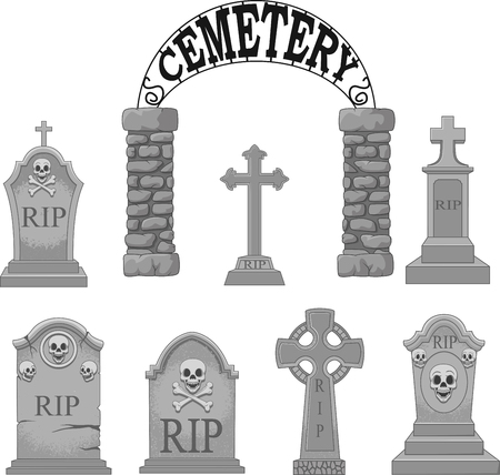 Vector illustration of Cartoon gravestones collection set