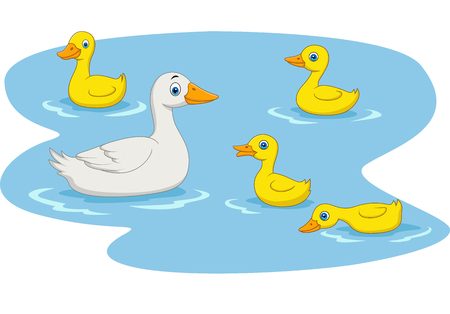 Vector illustration of Cartoon duck family swimming in the pond