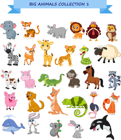 Vector illustration of Big animals collection set