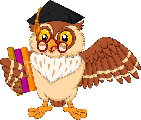 Vector illustration of Cartoon owl holding a book Vectores