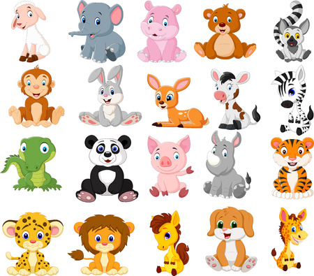 Vector illustration of Cartoon animals collection set