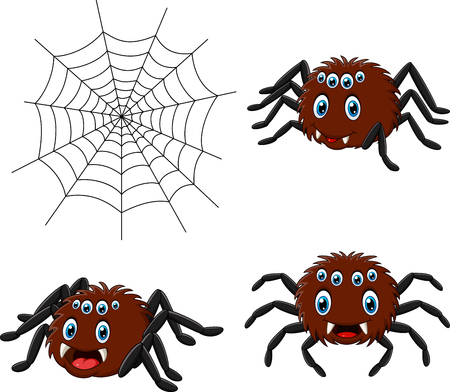Vector illustration of Cartoon spider collections set